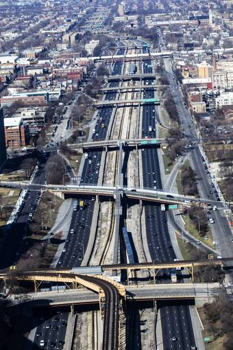 Aerial shot of the Eisenhower Expressway in Chicago.