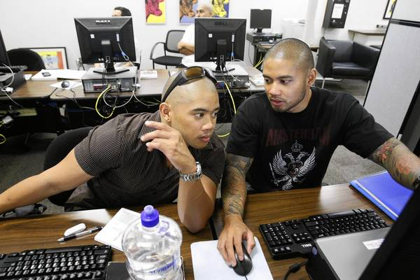 Bryce Torres, left, and his brother Gladwin during anthropology lab at Pasadena City College. Bryce was in the Army for six years, Gladwin the Air Force for six years. Military Times ranked the campus eighth nationally among community colleges for its veterans services.