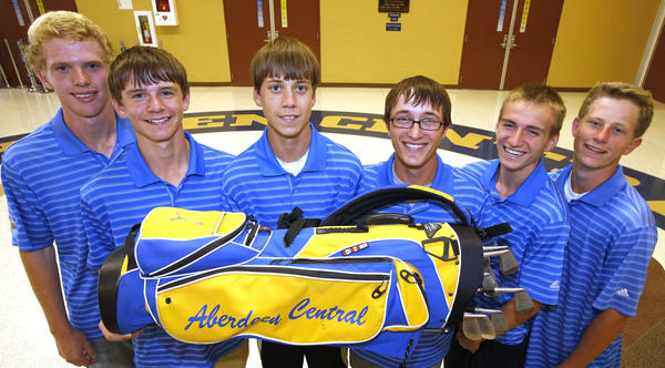 These members of the Aberdeen Central golf team will play in the state tournament. From the left are: Tyler Foster, Jonah Dohrer, Conner Preston, Trevor Hieb, Alex Grandbois and Cameron Huff. American News Photo by John Davis