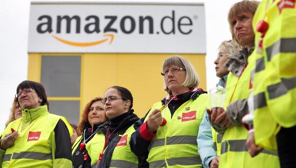 Amazon employees on strike in Leipzig, Germany, on Sept. 19.