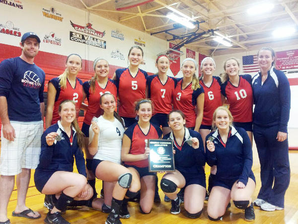 The Boyne City High School varsity volleyball team won the Onaway Invitational tournament Saturday at the Onaway High School gym. Team members are front (from left) Carly Kruzel, Erin Baker, Heather Nichols, Courtney Weldon, Hannah Brilinski; back, assistant coach Nick Denison, Megan Rushlow, Mallory Karaszewki, Ali Johnson, Ashlyn Kartes, Kristen Rushlow, Paige Hornbeck, Kylie Hicks and coach Casie Parker.
