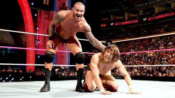 Randy Orton, left, and Daniel Bryan compete for the vacant WWE title.