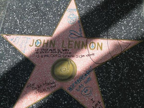 John Lennon's star on the Hollywood Walk of Fame was defaced days before an annual birthday remembrance.