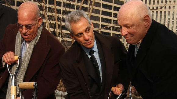 Larry Levy, from left, Mayor Rahm Emanuel and Daniel Fournier break ground of River Point office tower in the West Loop in January.