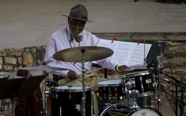"""Drummer Albert """"Tootie"""" Heath, onstage with the Richard Sears Group, opened the Angel City Jazz Festival."""