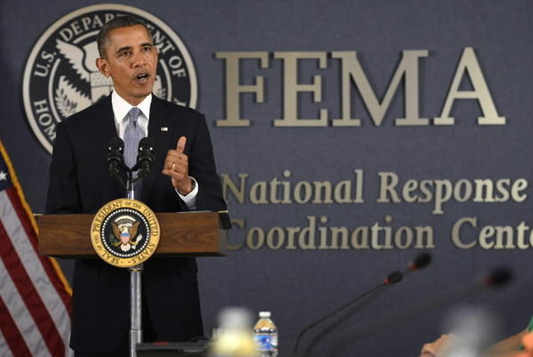 President Barack Obama delivers remarks on the Government Shutdown at FEMA's National Response Coordination Center in Washington, D.C.