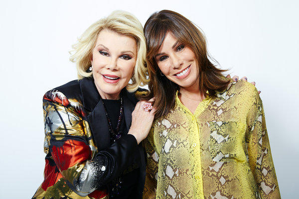 "Comedian Joan Rivers and daughter Melissa Rivers in New York. Joan leads a panel on ""Fashion Police,"" which has been in a dispute with the Writers Guild of America. Melissa is a co-executive producer and an occasional panelist as well."