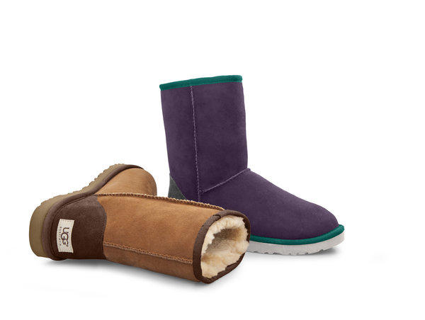 Two of 6,000 possible customized versions of Ugg Australia's classic short boot are shown. Customers can design to order starting Wednesday.