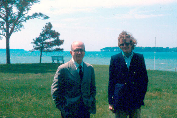 Author James Michener and his research assistant, Errol Lincoln Uys, at Michener's home in St. Michael's.