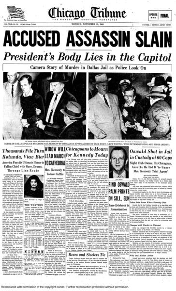 Two days after Lee Harvey Oswald killed President John F. Kennedy, Oswald was fatally shot in the basement of a municipal police building by a Dallas club owner. The shooting took place despite police being in close proximity to Oswald.