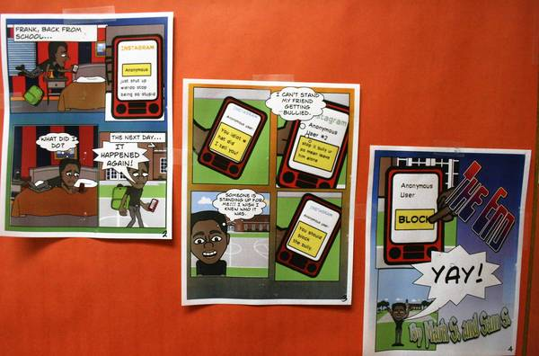 Northbrook Junior High School's sixth-graders created comic strips, such as the one shown in the photo, and other projects as part of the school's annual anti-bullying symposium.