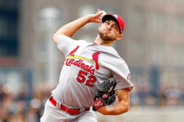 Michael Wacha of the St. Louis Cardinals throws a pitch in the first inning against the Pittsburgh Pirates during Game Four of the National League Division Series at PNC Park.