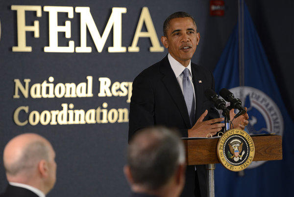 President Obama speaks at the Federal Emergency Management Agency in Washington on Monday.