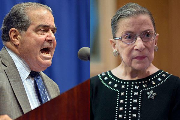 Supreme Court Justices Antonin Scalia, left, and Ruth Bader Ginsburg.