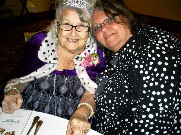 Mary Hamman, 85. left, with Sheila Cash, activities director of At Home Care Assisted Living Facility.