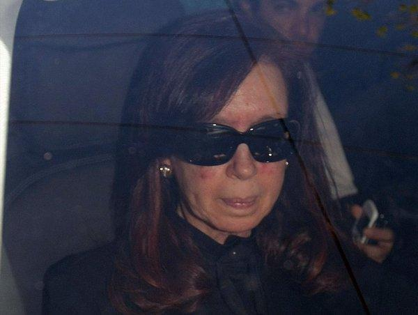 President Cristina Fernandez de Kirchner arrives at Favaloro clinic of Buenos Aires on Oct. 7, 2013. She is to undergo an operation here Tuesday to treat a subdural hematoma.