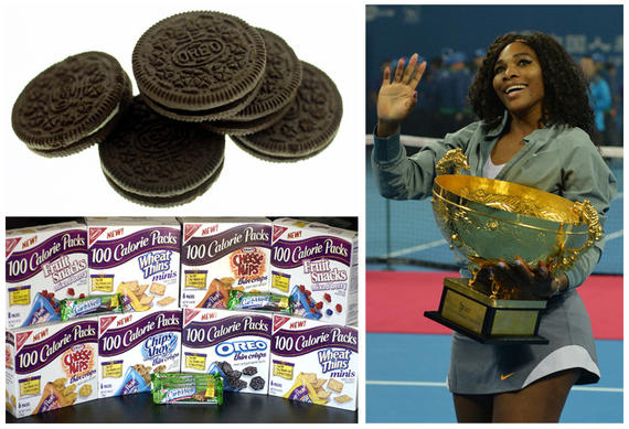 Serena Williams' endorsement deals had the worst scores, as measured by their Nutrient Profile Index. Her food and beverage endorsements include Oreos, Nabisco's 100 Calorie Pack Snacks, 'Got Milk?' and Gatorade.