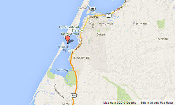A surfer was bitten by a shark over the weekend near Humboldt Bay, shown in red.