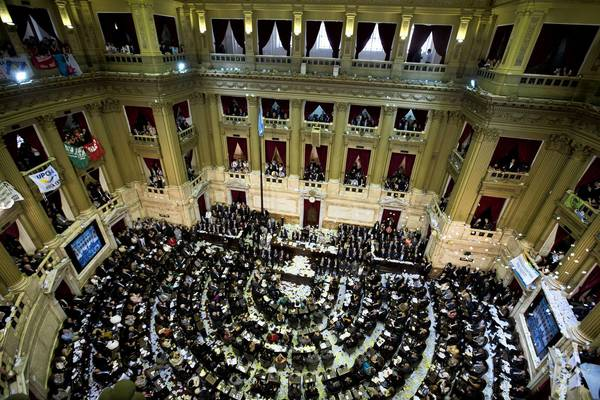 Lawmakers attend the new legislative session of Argentina's Congress in Buenos Aires.