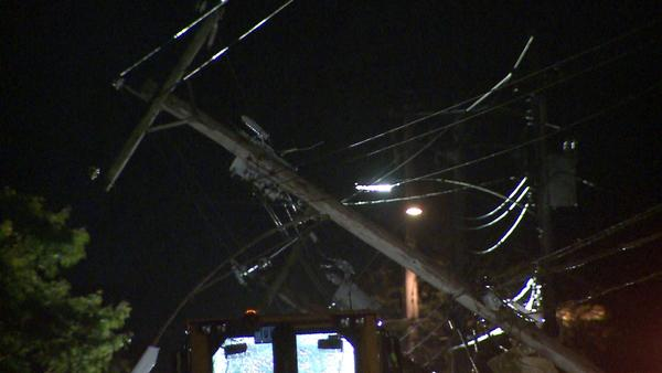 A severe thunderstorm knocked down power lines in Durham, forcing Route 68 to be closed.