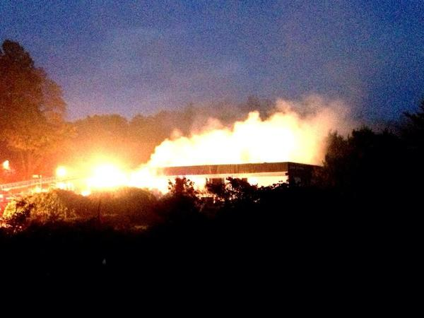 Multi-alarm fire at a commercial building in Avon.