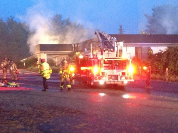 Firefighters in Avon battle a commercial building fire.