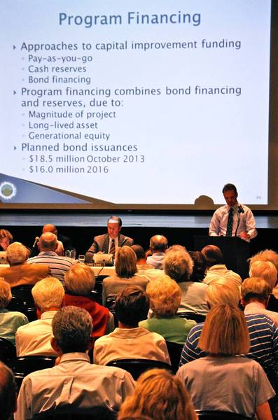 Steven Saunders, Winnetka's director of public works (right, at podium) addresses residents on the financing of the village's $61 million stormwater project during a Sept. 19 public hearing.