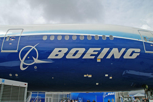 The Boeing logo on a 777.