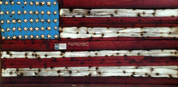 The American flag, made from salvaged and repurposed metal, by Brian Walters.