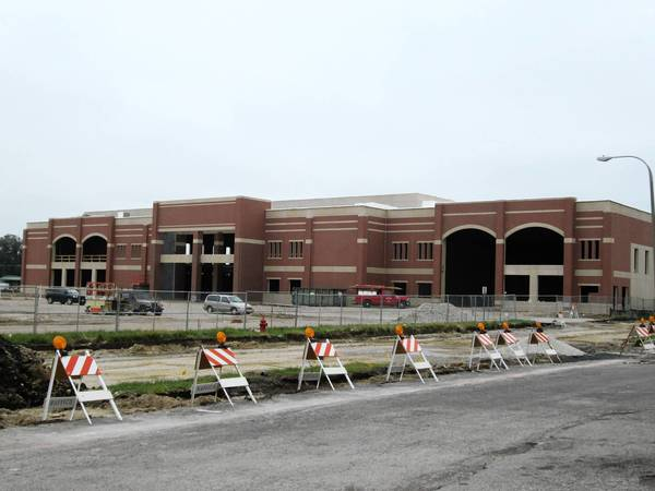 The exterior of a new community and event center in Romeoville is almost complete. The center, which is located near Illinois Route 53 and Normantown Road, is the first new structure to be built at the former dilapidated Spartans' Square shopping plaza.