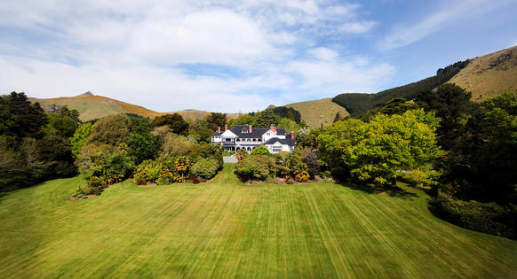Otahuna Lodge is housed in a refurbished Victorian mansion. Here is an aerial view of the lodge, which is located outside of Christchurch, New Zealand.