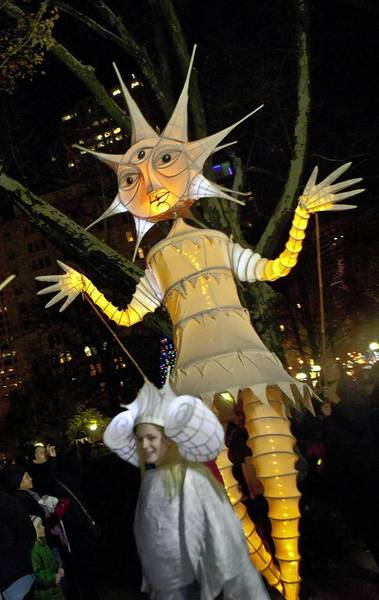 The puppets of Anne Cubberly are used in Night Fall, which will be at Pope Park on Oct. 12. Shown here is her Night Fall Solstice Puppet.