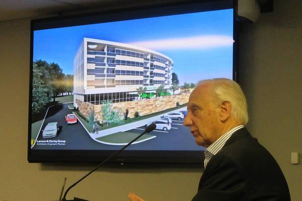 Developer John Breugelmans presents his proposal for a building in downtown Lake Zurich to the board. The board ultimately rejected the proposal.