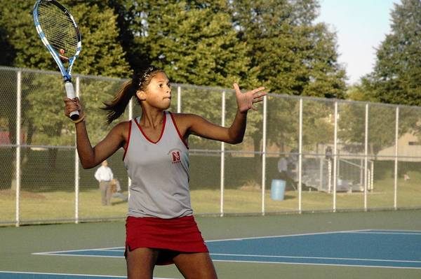 Naperville Central's Cass Goldner and her partner, Cindy Liu, defeated the No. 1 doubles team from Naperville North, Julia Li and Jessica Hu, on Monday.