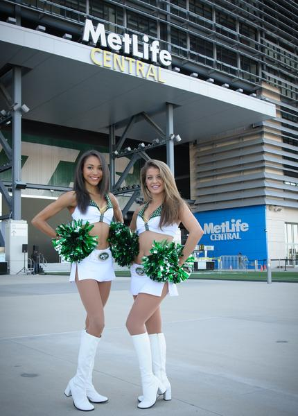 NY Jets Cheerleaders pose in front of MetLife Stadium, the site of the upcoming 2014 Super Bowl, in East Rutherford, New Jersey.
