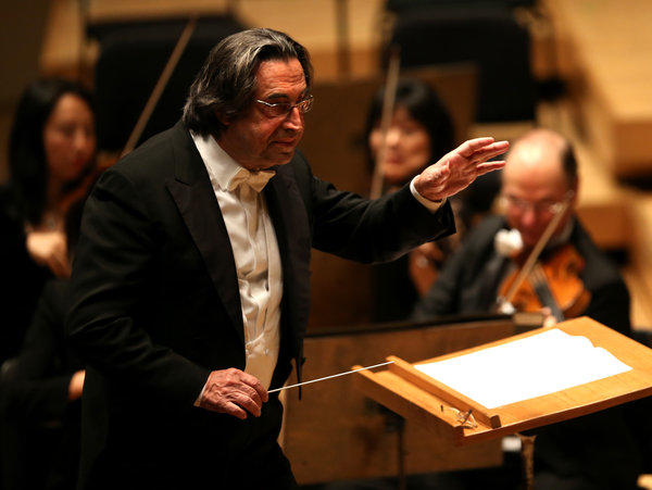 Conductor Riccardo Muti leads the Chicago Symphony Orchestra at Symphony Center in Chicago.