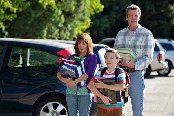 "The principal calls a meeting on ""The Middle"" on ABC. With Patricia Heaton, left, Atticus Shaffer and Neil Flynn."