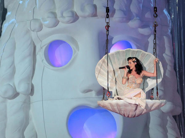 Katy Perry drops from a sea shell during Life Ball 2009, Europe's largest event for the fight against AIDS/HIV, in Vienna.