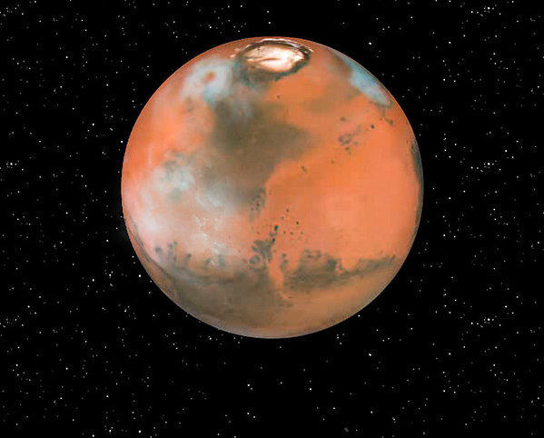 An illustration featuring clouds on Mars. MIT scientists say they have created cirrus-like Martian clouds on Earth to study the Red Planet's atmosphere.