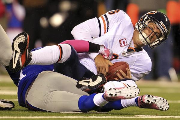 Bears quarterback Jay Cutler is unlikely to have the same kind of problems this time against the Giants.
