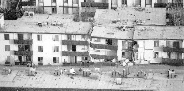 """The Northridge Meadows apartment building, where 16 people died during the Northridge earthquake in 1994, is an example of a """"soft story"""" building."""