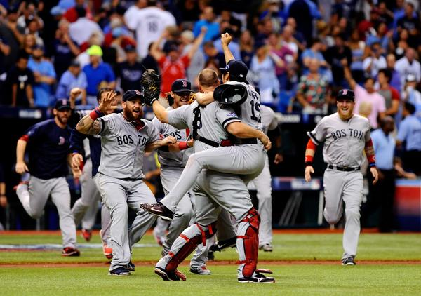 The Red Sox celebrate after winning their ALDS series against the Rays.