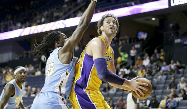 Pau Gasol had 14 points, eight rebounds and two assists in the Lakers' preseason victory over the Denver Nuggets, 90-88, in Ontario.