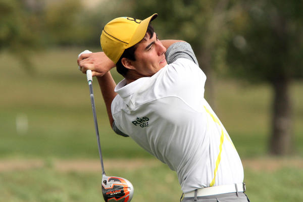 Michael Duch of Aberdeen Roncalli HS hits his tee shot on the 9th hole during Tuesday's final round of the Boys Class A golf tournament in Hartford.