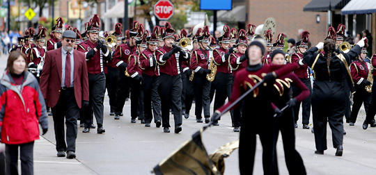The Platte-Geddes Marching Band makes their way down Main Street during the Gypsy Day parade Saturday. photo by john davis taken 10/5/2013