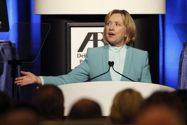Former Secretary of State Hillary Rodham Clinton addresses a crowd after receiving an American Bar Assn. award in San Francisco.