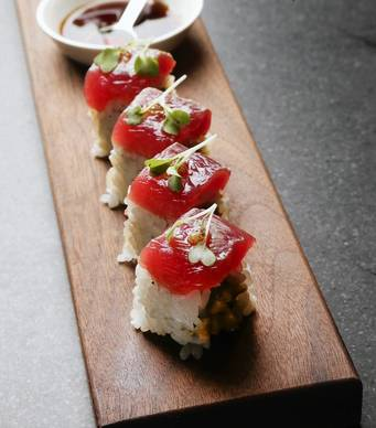 The Tako Maguro Maki, by sushi chef B.K. Park, at Juno restaurant, at 2638 N. Lincoln Ave., in Chicago,.