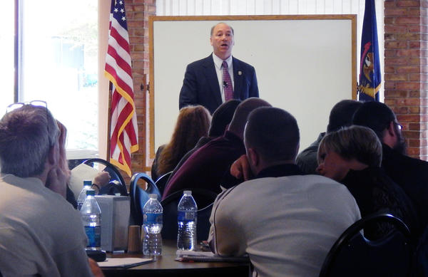 Thomas Tremblay, national trainer and advisor promoting improved victim services, addresses an audience of law enforcement, prosecutors and allied professionals at a recent day-long training at North Central Michigan College in Petoskey.