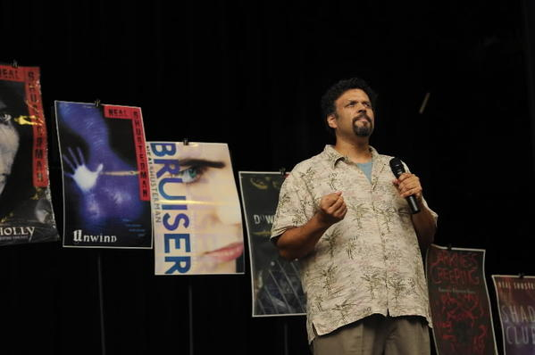 Young adult author Neal Shusterman speaks to students at Sedgwick Middle School Tuesday.