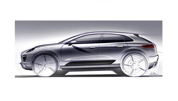 A sketch of the Porsche Macan crossover SUV.